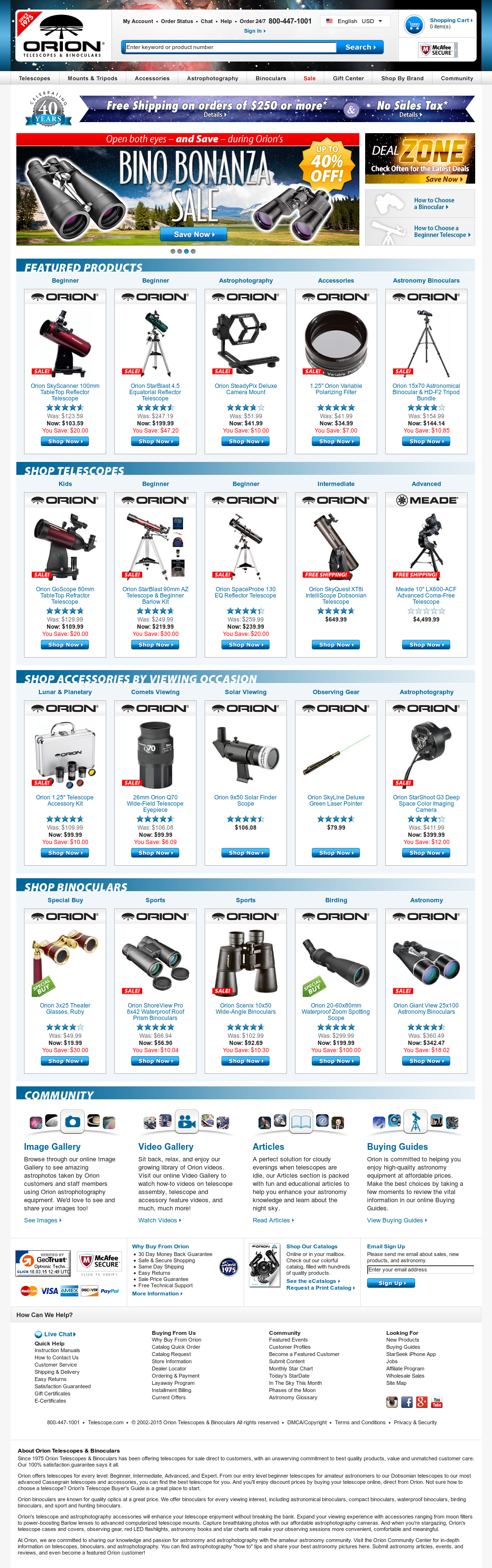 Orion Telescopes & Binoculars Competitors, Revenue and Employees