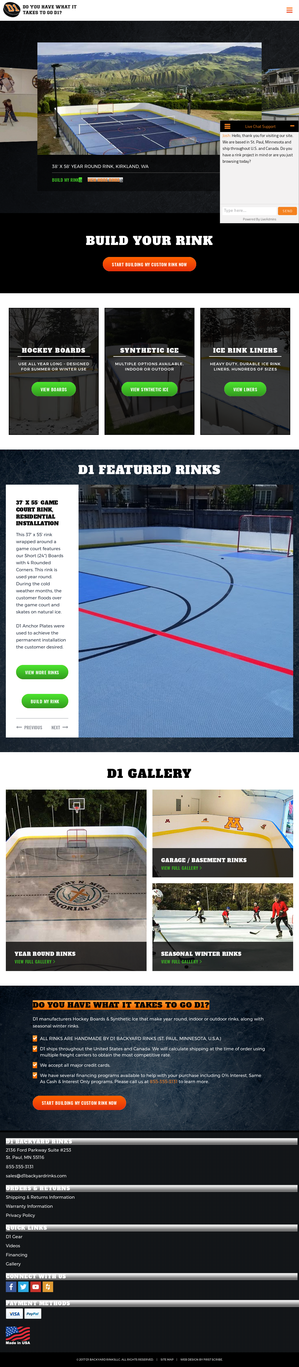 D1 Backyard Rinks's website screenshot on Jul 2017 - D1 Backyard Rinks Competitors, Revenue And Employees - Owler Company