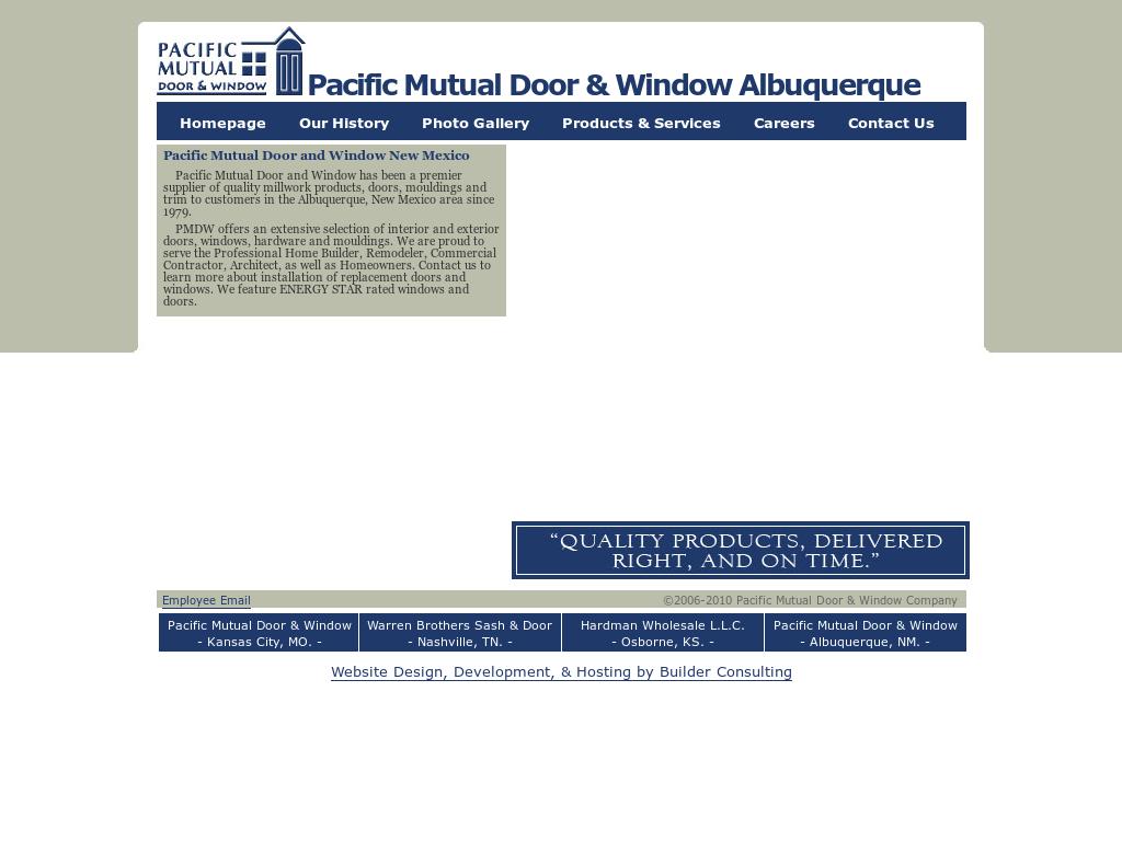 Pacific Mutual Door Website History
