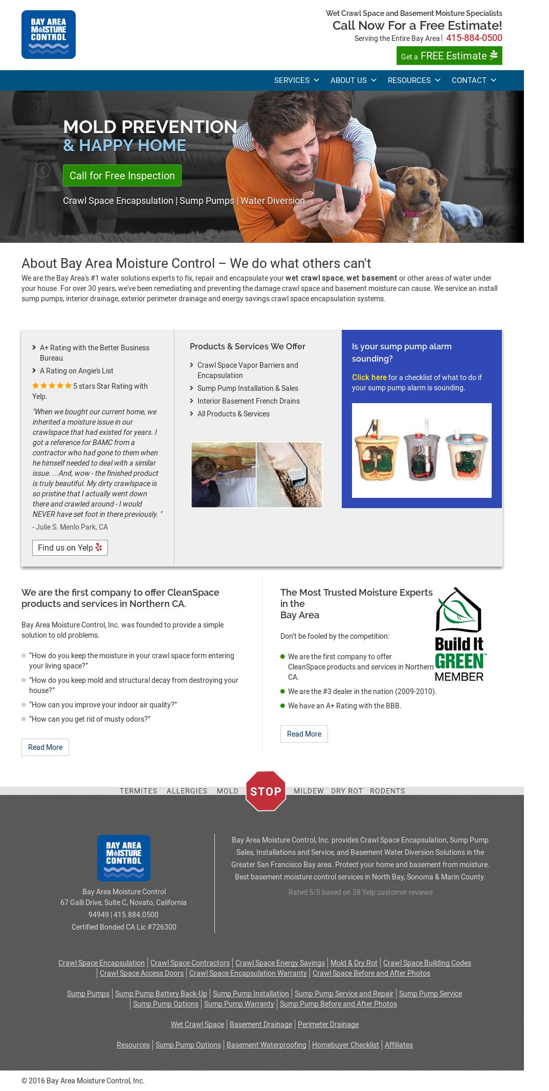 Bay Area Moisture Control Website History