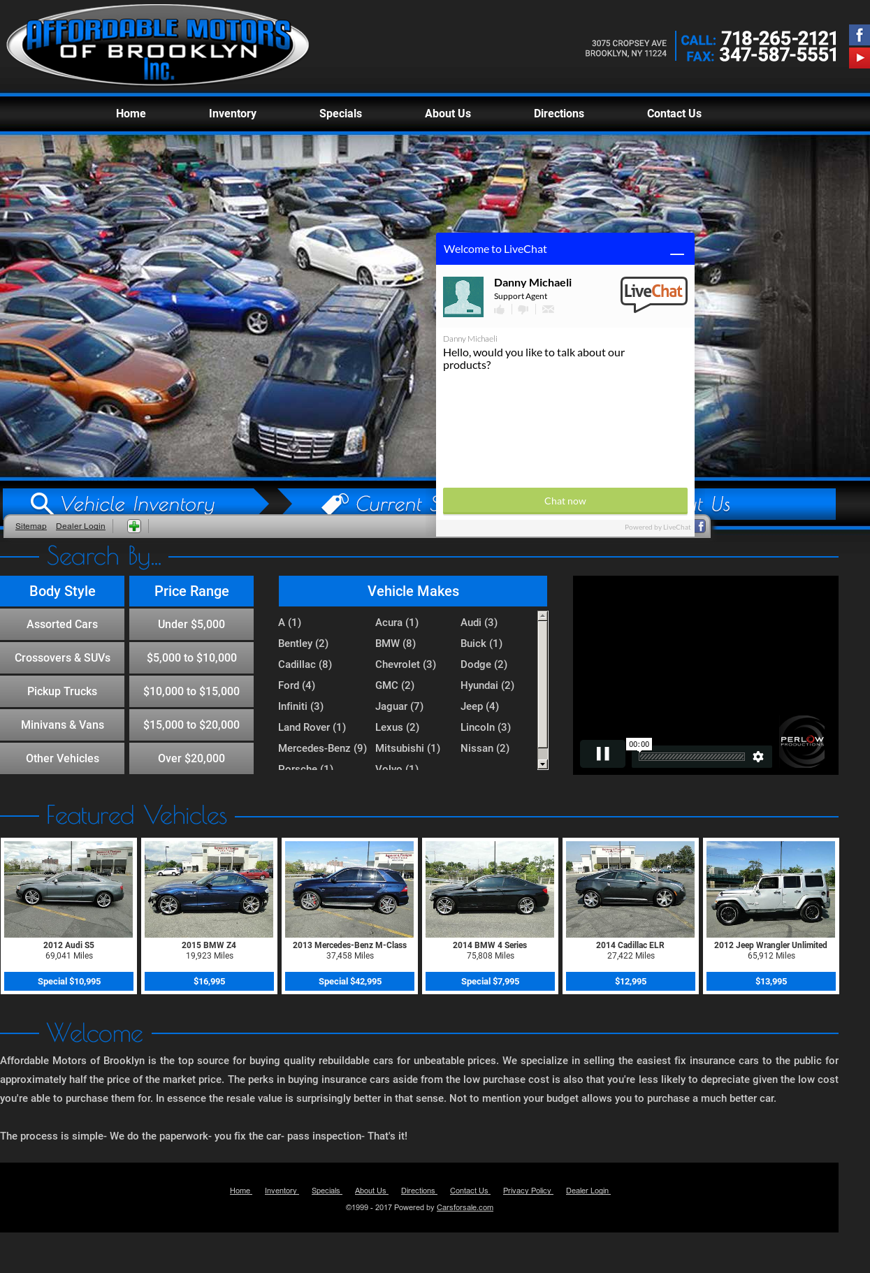 Affordable Motors of Brooklyn website history