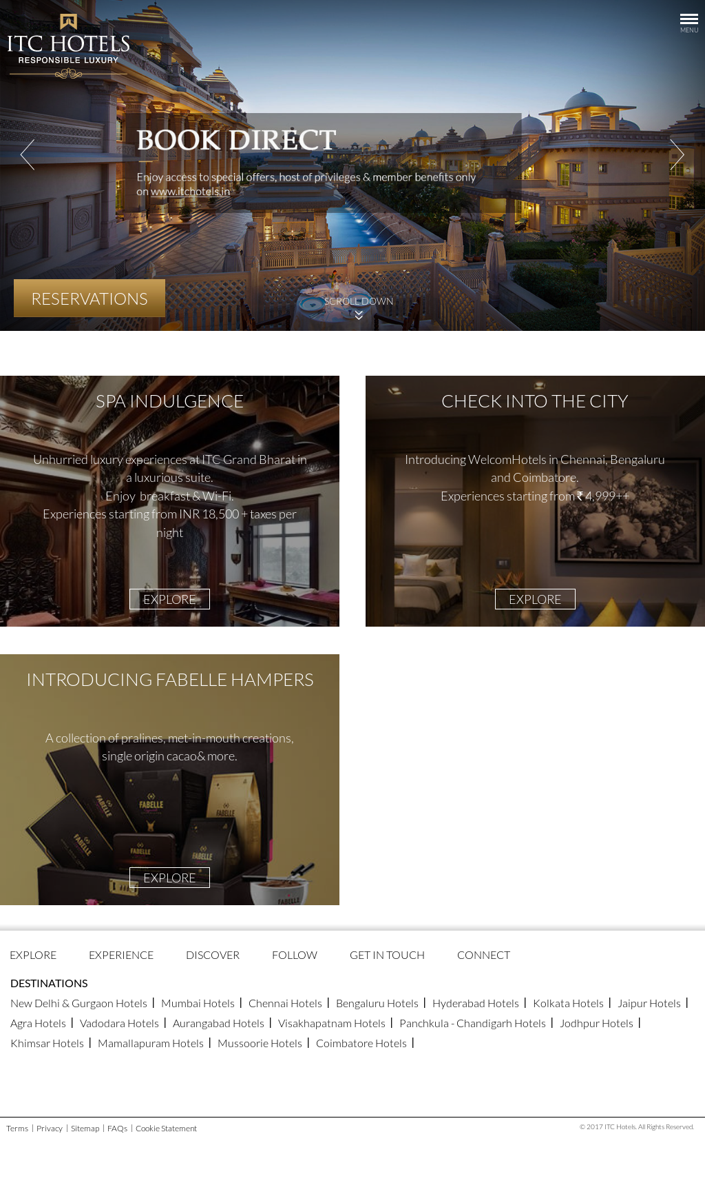 Itc Hotels Website History
