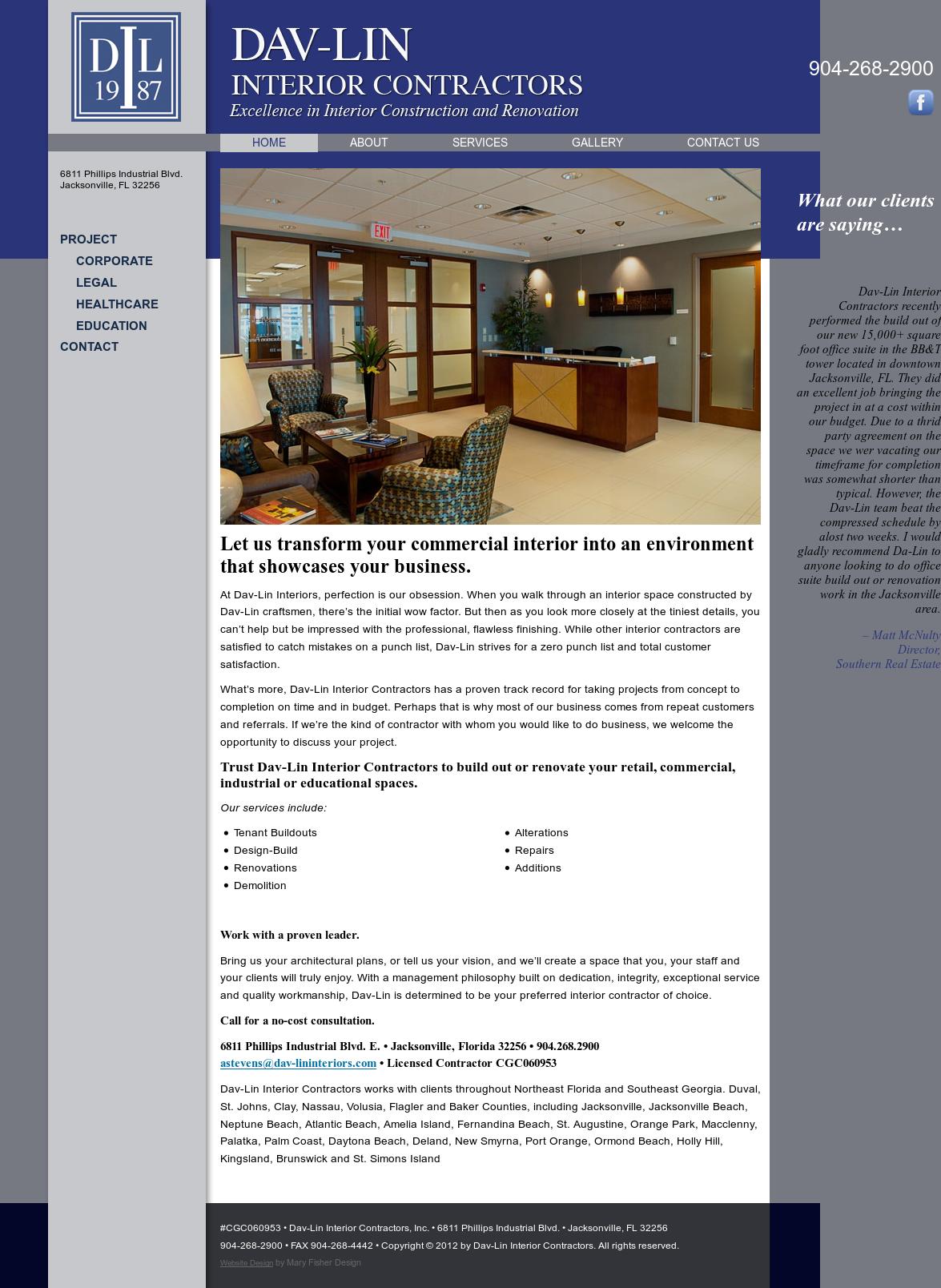 Dav lin interior contractors competitors revenue and for Interior contractors