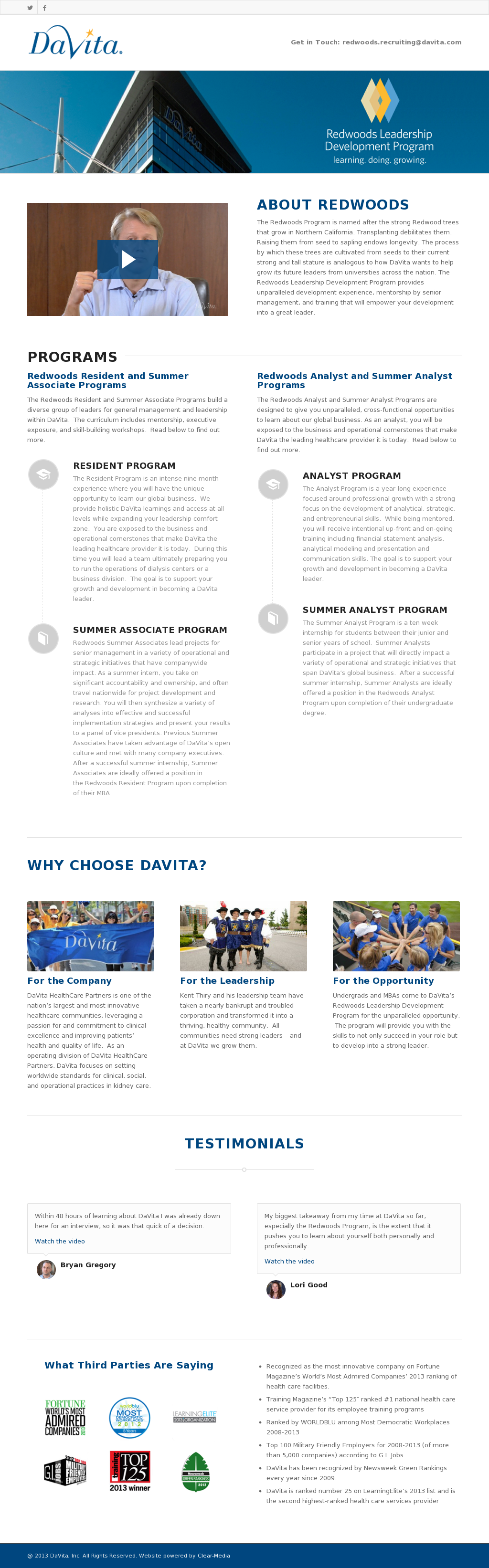Davita Redwoods Leadership Development Program Competitors