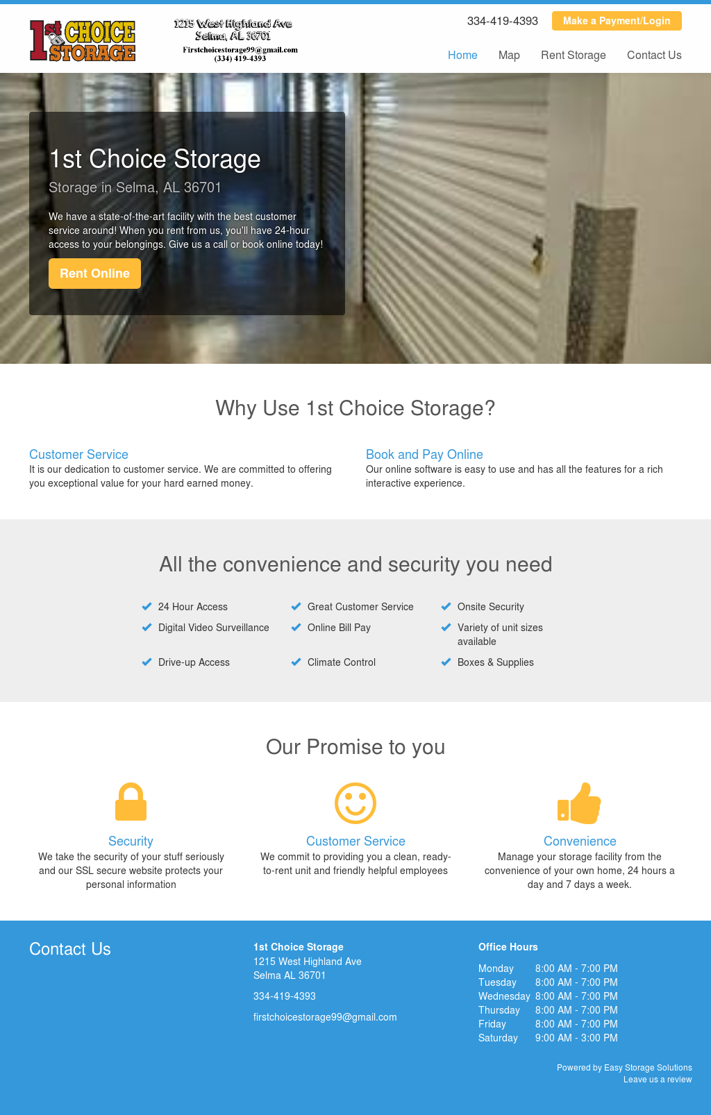 1st Choice Storage   Climate Control Website History
