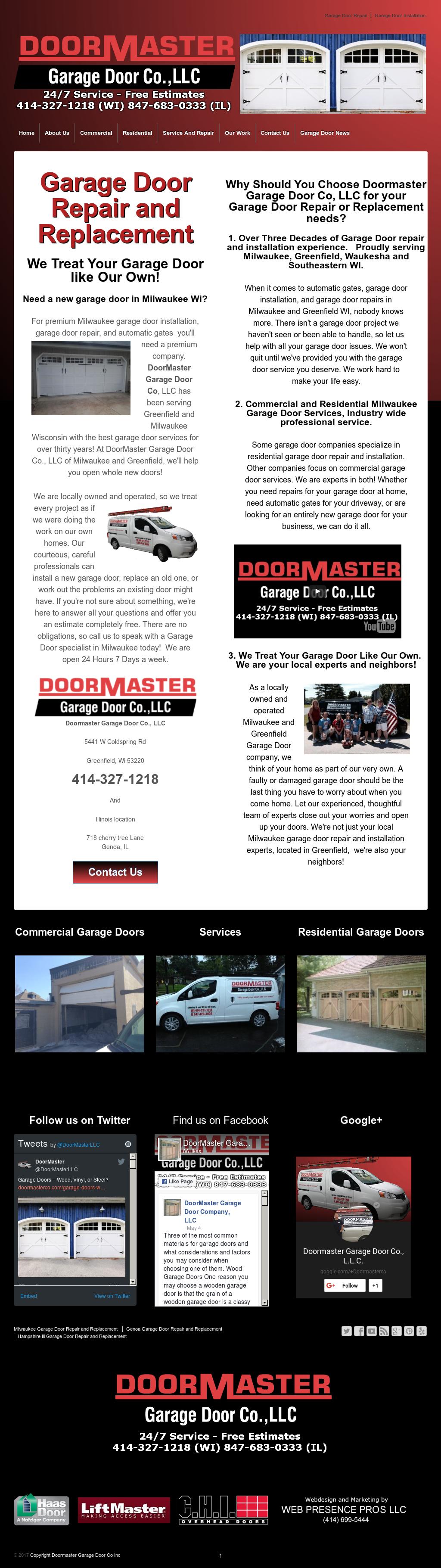 Doormaster Garage Door Company Website History