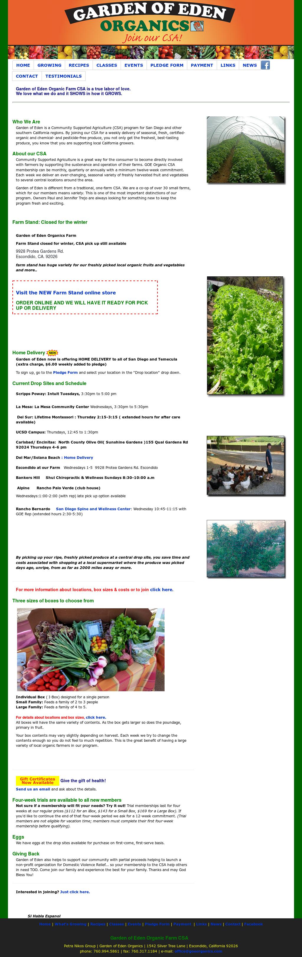 Garden Of Eden Organics Website History