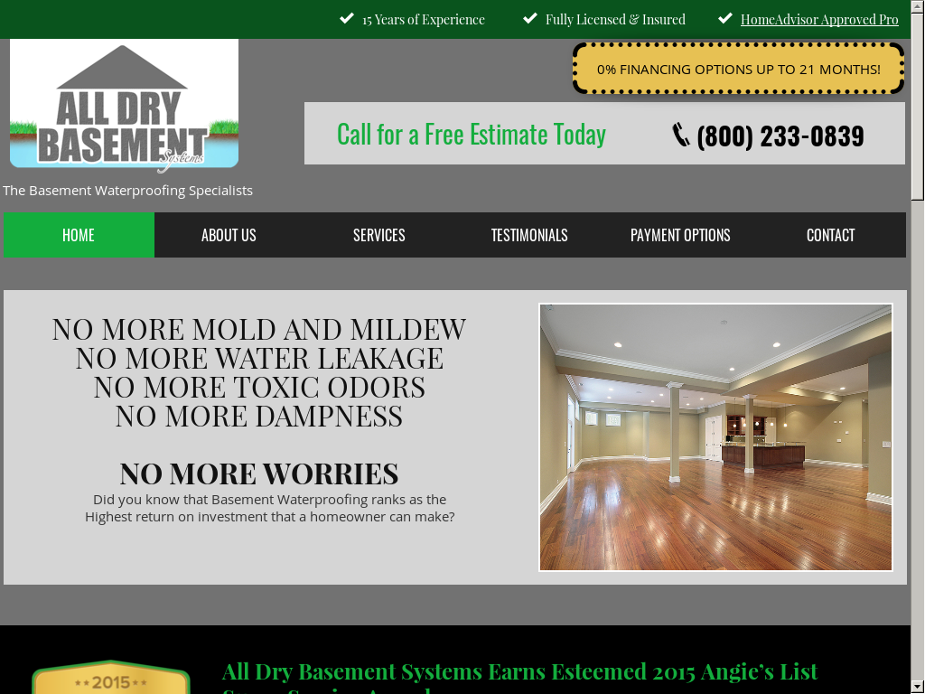 All Dry Basement Systems Website History