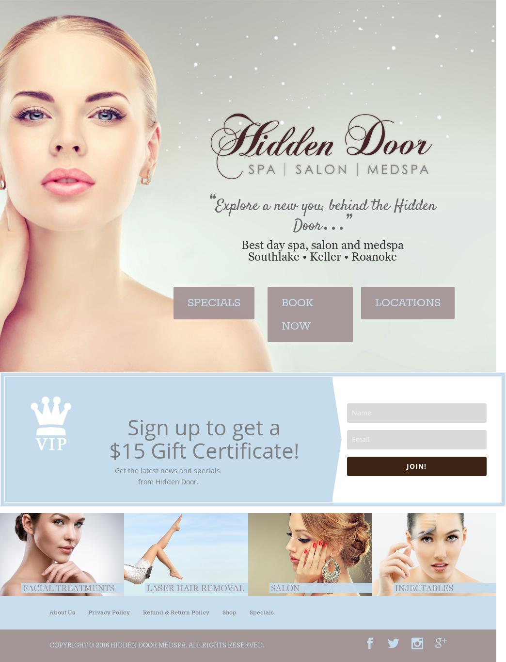 Hidden Door Spa Website History