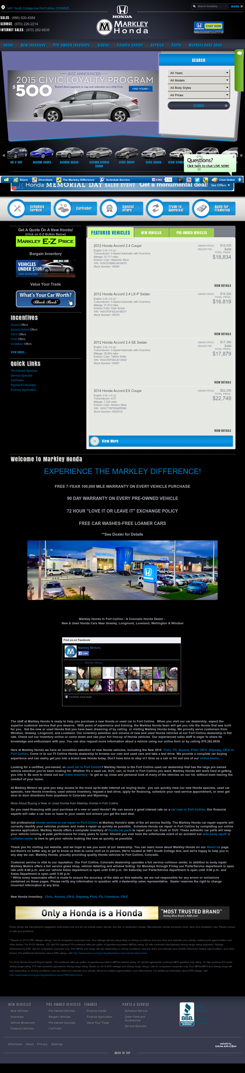 Hondas For Sale By Owner >> Markley Motors Fort Collins Colorado - impremedia.net