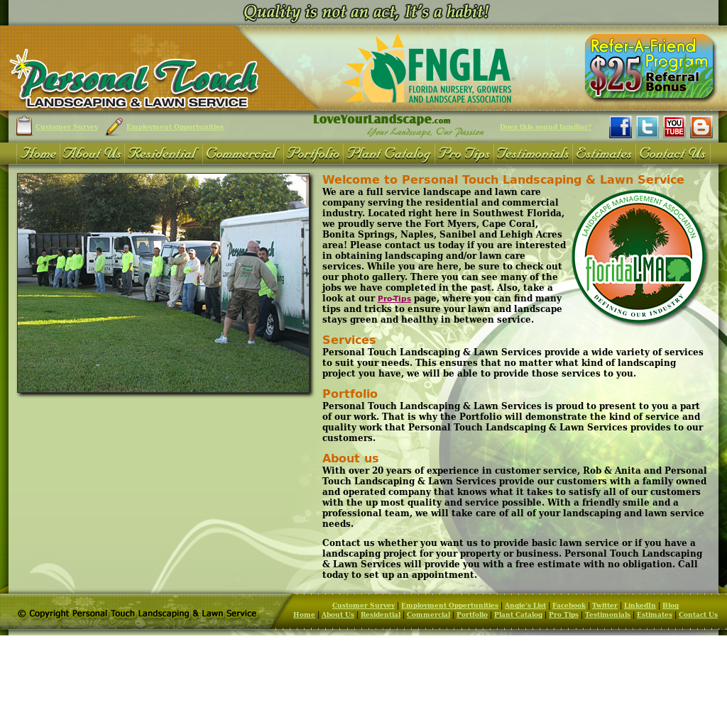 Website History - Personal Touch Landscaping & Lawn Service Competitors, Revenue And