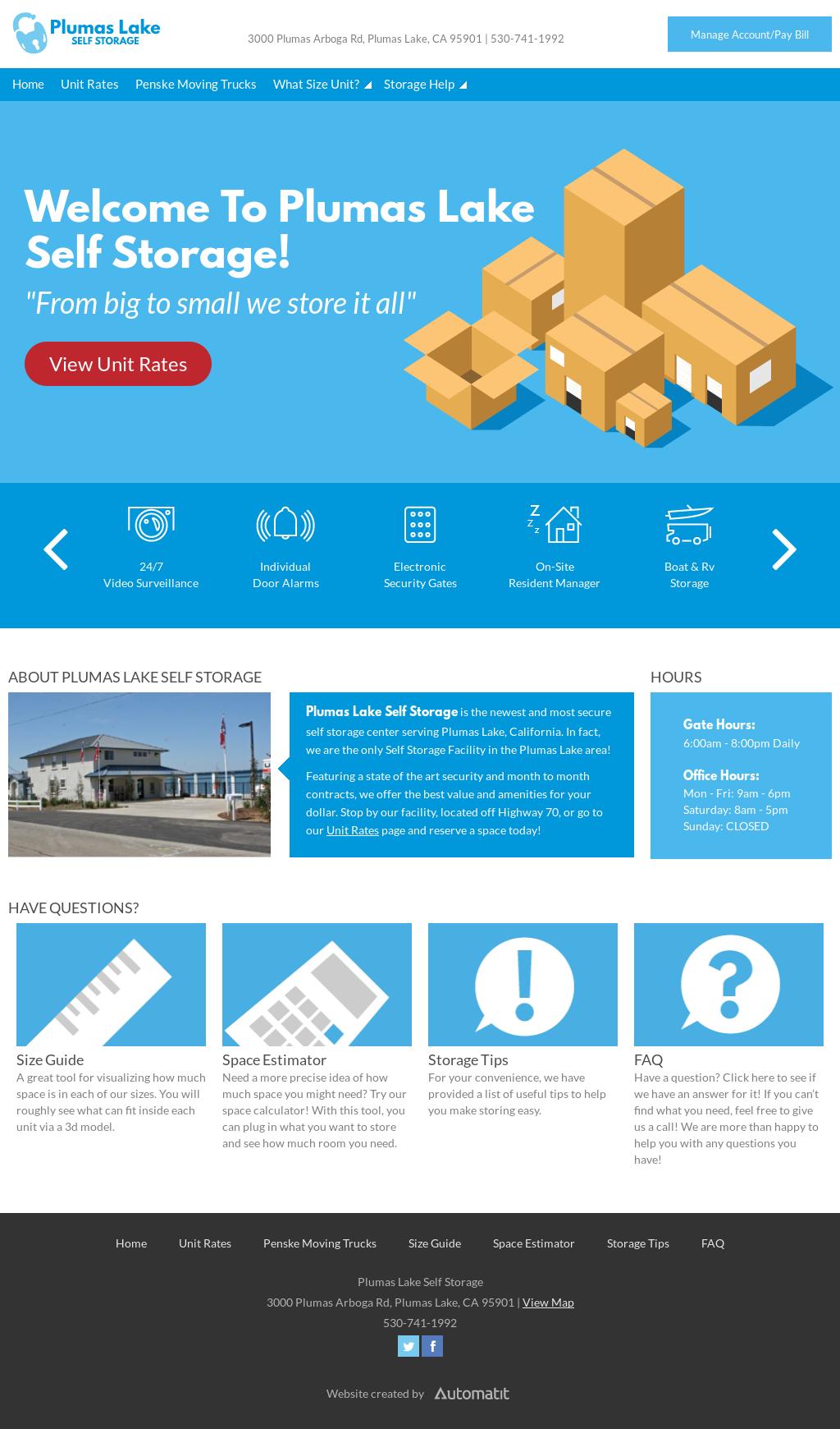 Plumas Lake Self Storage Website History