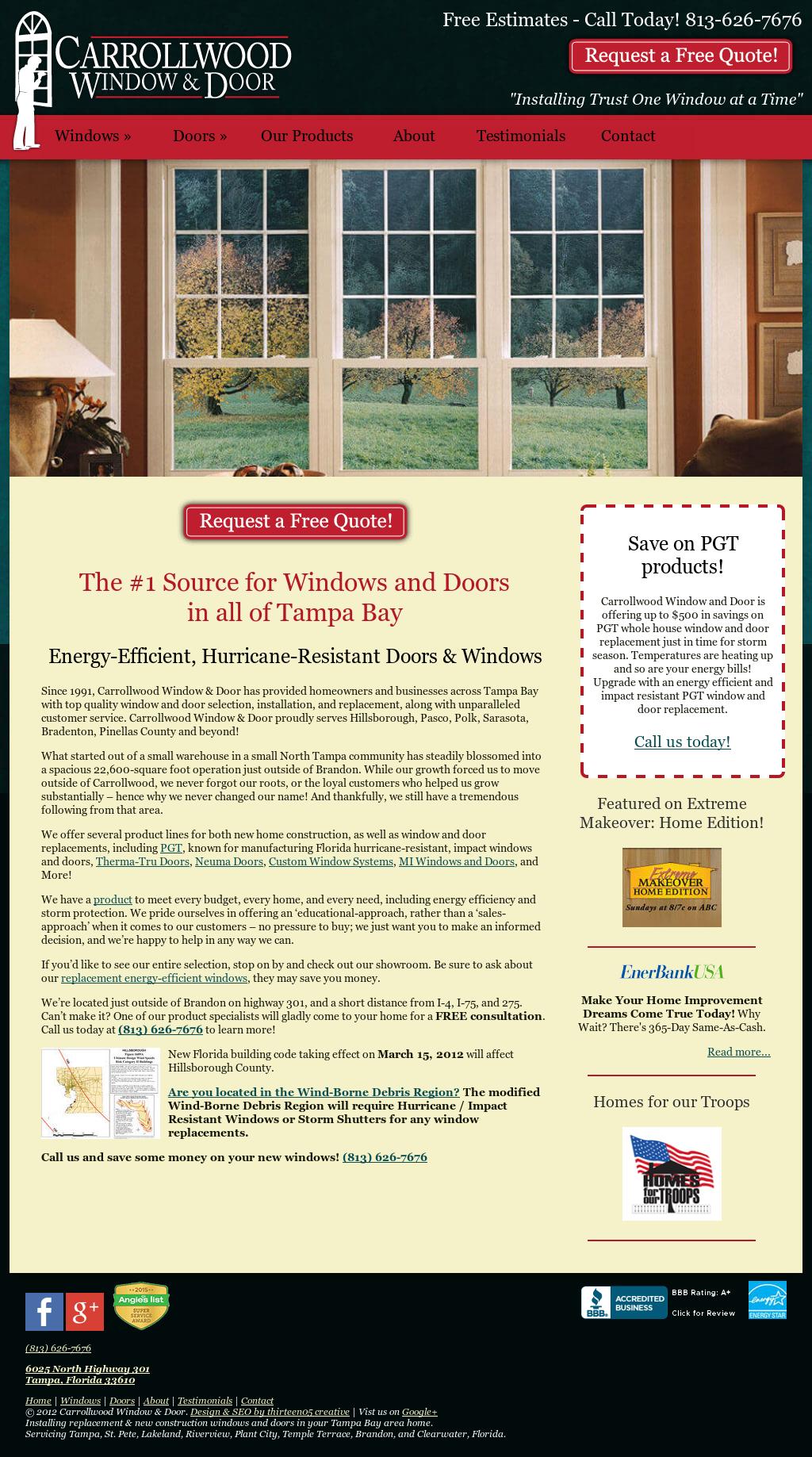 Carrollwood Window U0026 Door Website History