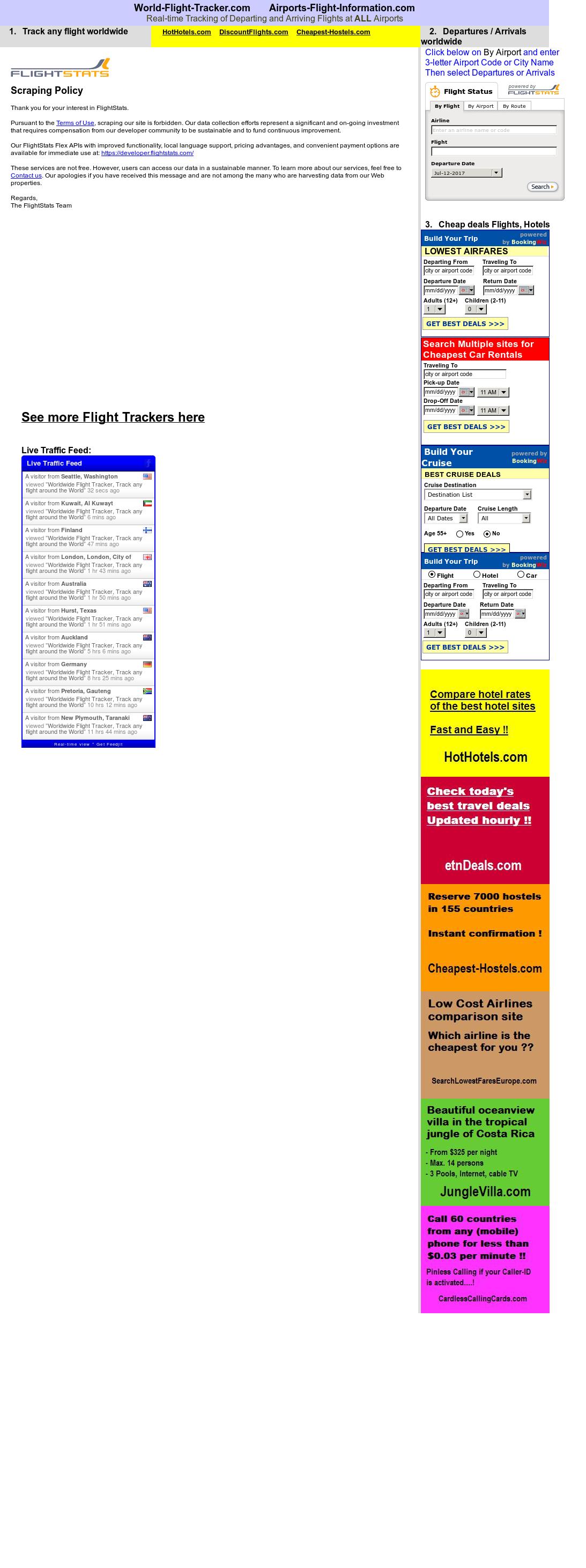 World Flight Tracker website history