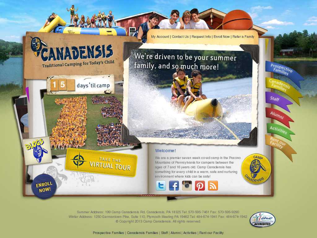 Camp Canadensis website history