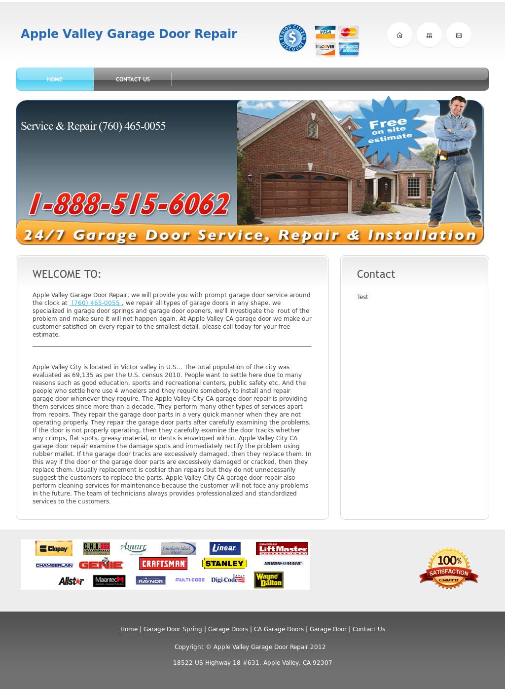 Apple Valley Garage Door Repair Website History