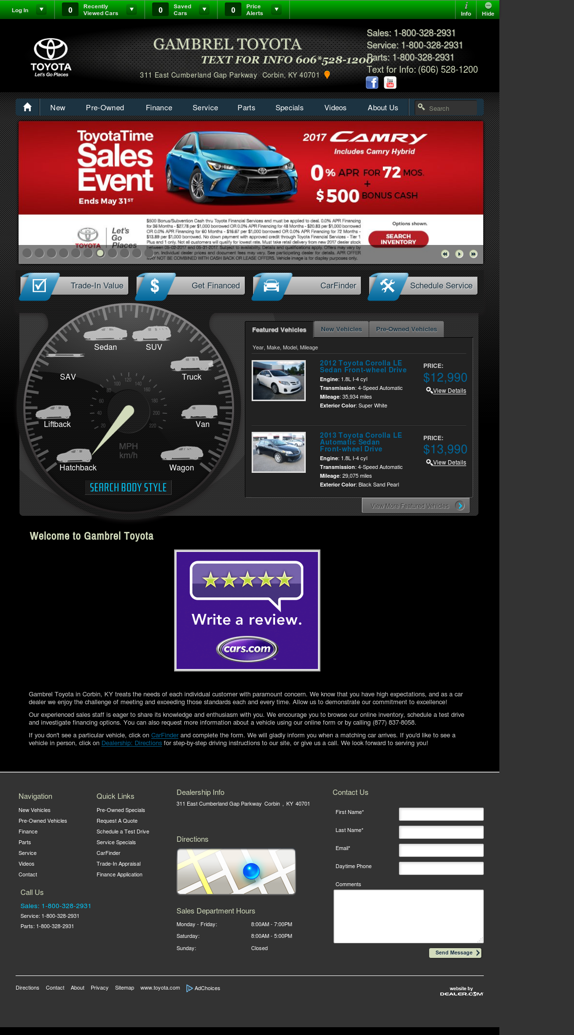 Gambrel Toyotau0027s Website Screenshot On May 2017
