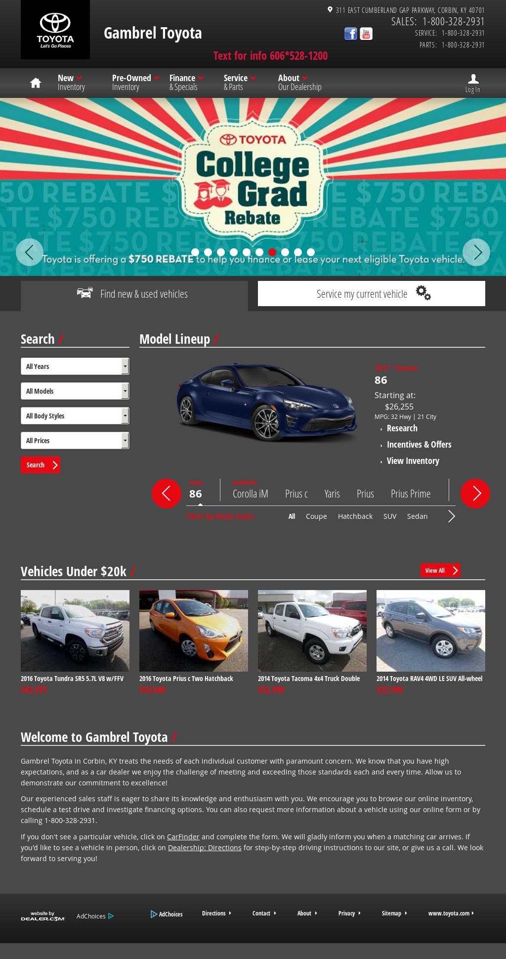Gambrel Toyotau0027s Website Screenshot On Sep 2017