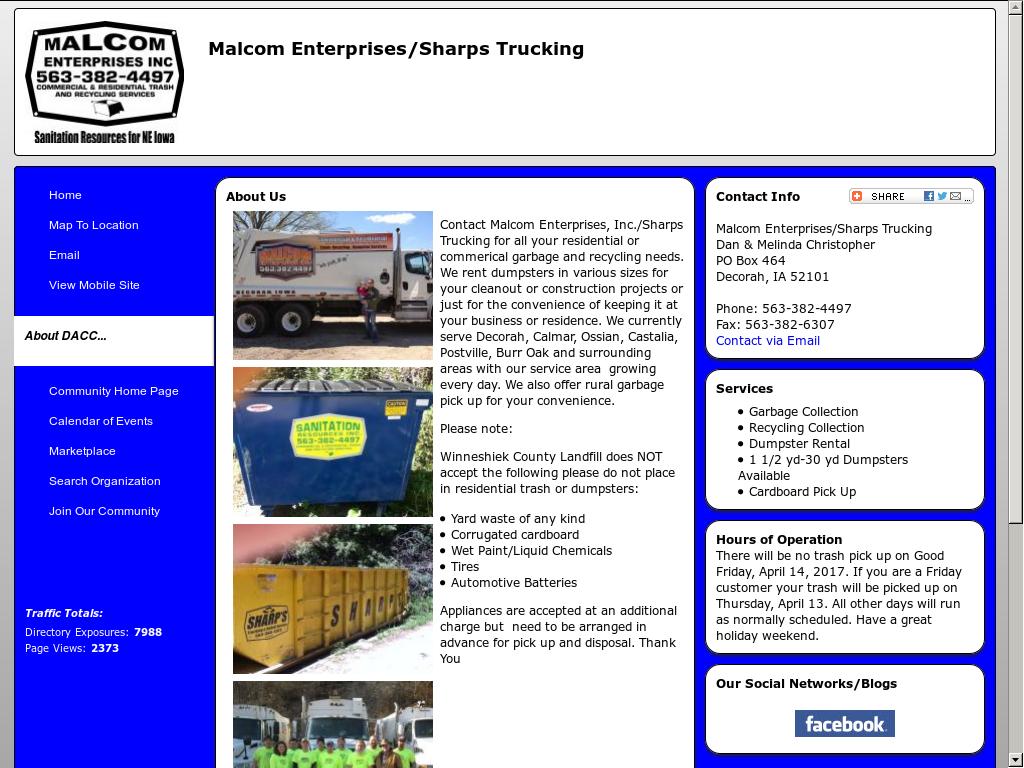 Malcom Enterprises Garbage Service Competitors, Revenue and