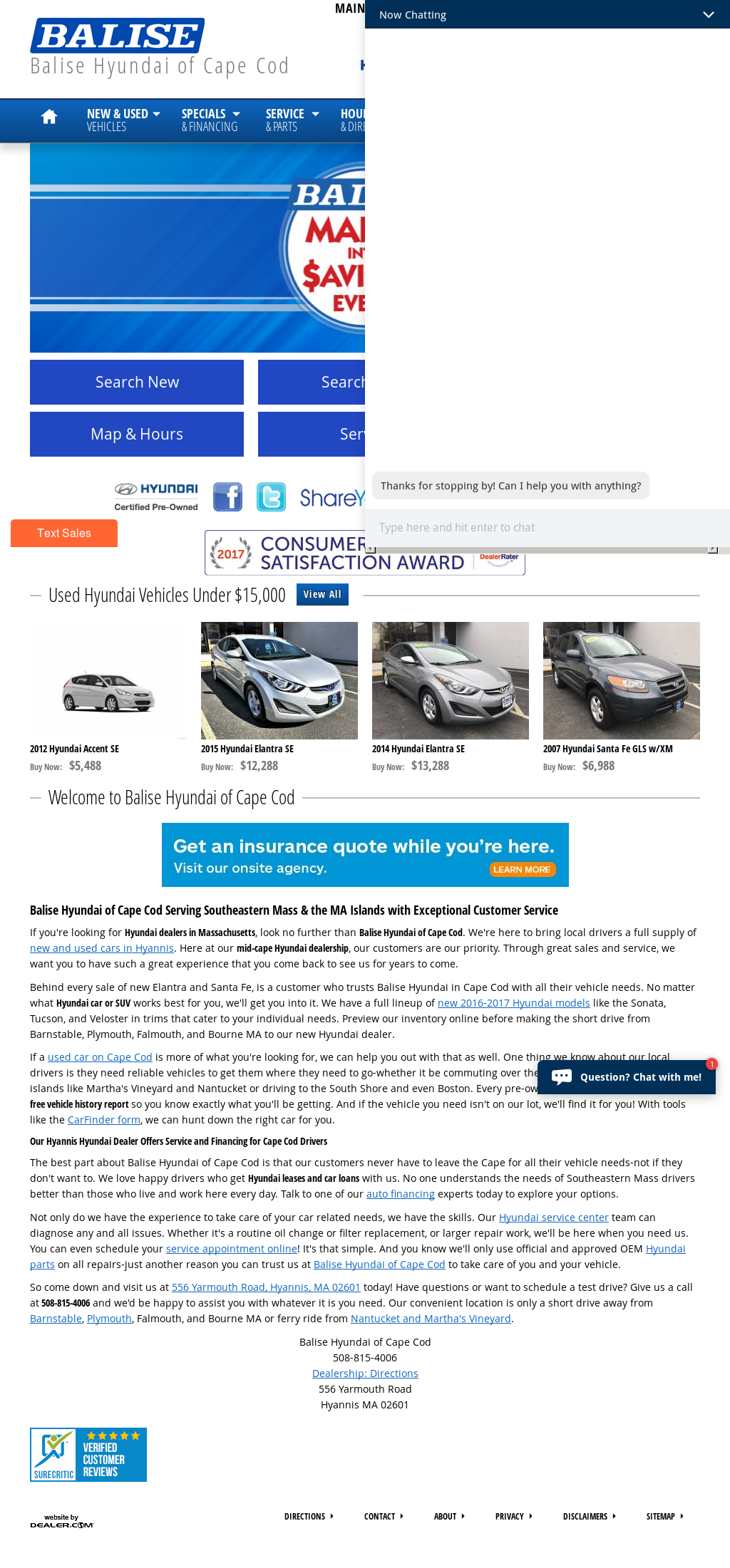 Balise Hyundai Of Cape Cod Website History