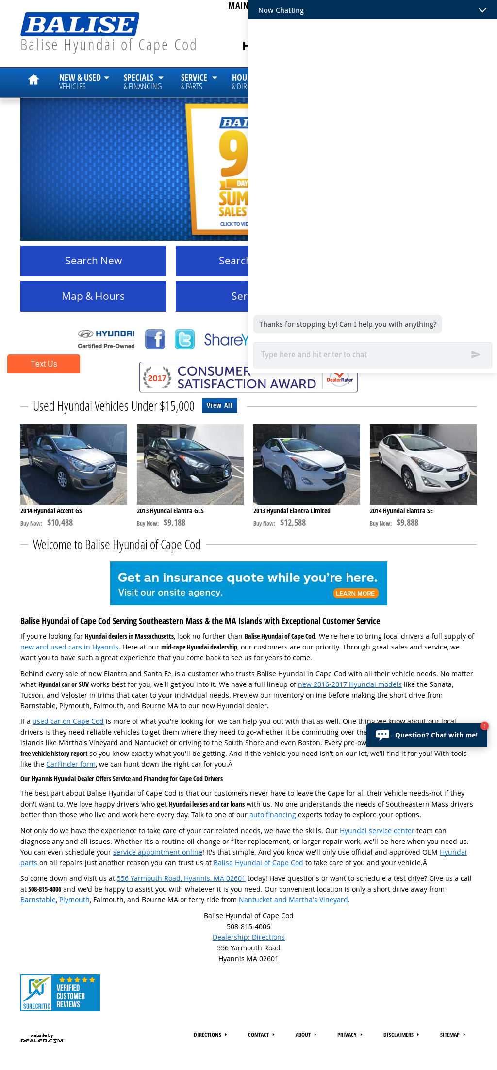 Wonderful Balise Hyundai Of Cape Cod Website History