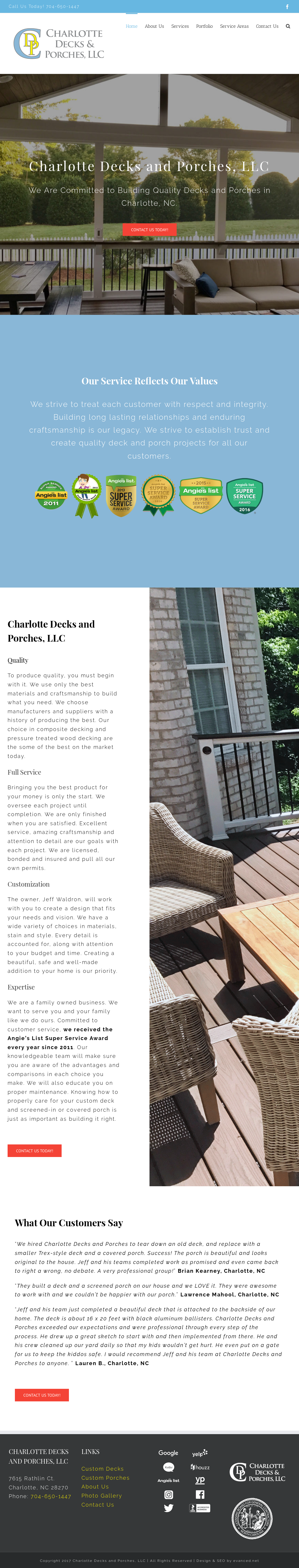 Charlotte Decks And Porches S Website Screenshot On Mar 2018