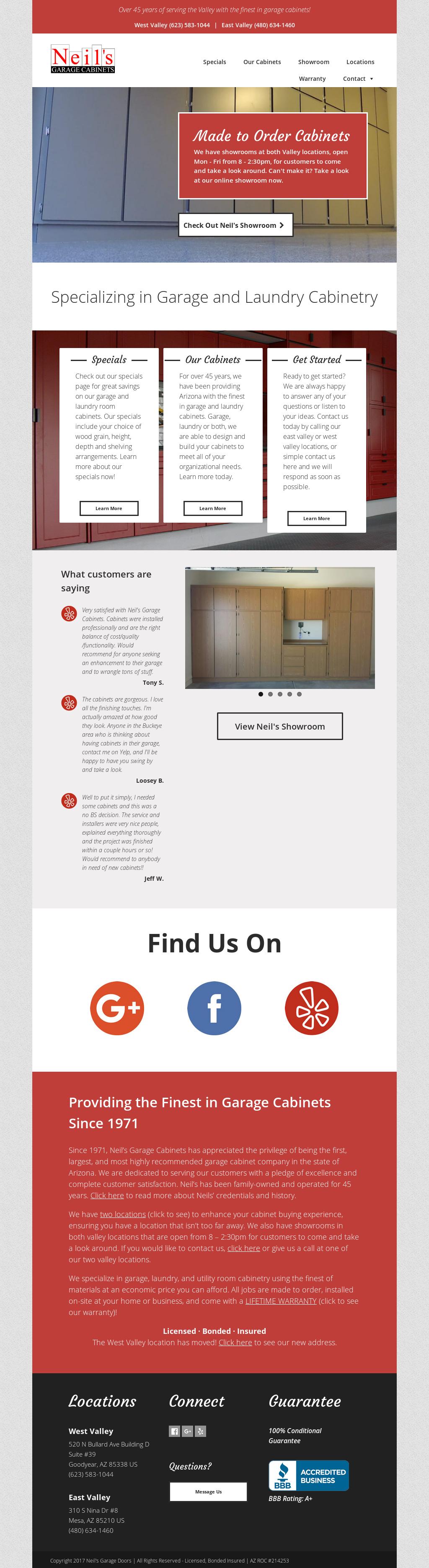 Neils Garage Cabinets Website History