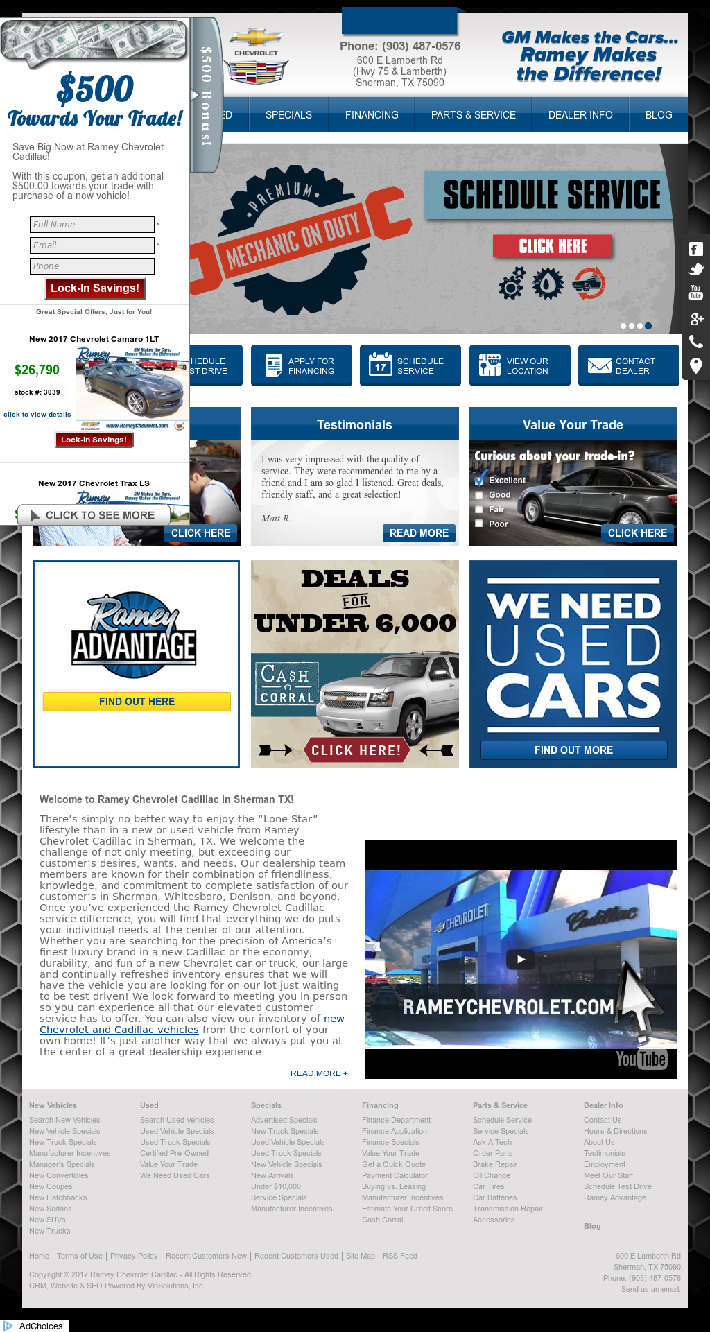 Superb Ramey Chevrolet Cadillacu0027s Website Screenshot On May 2017