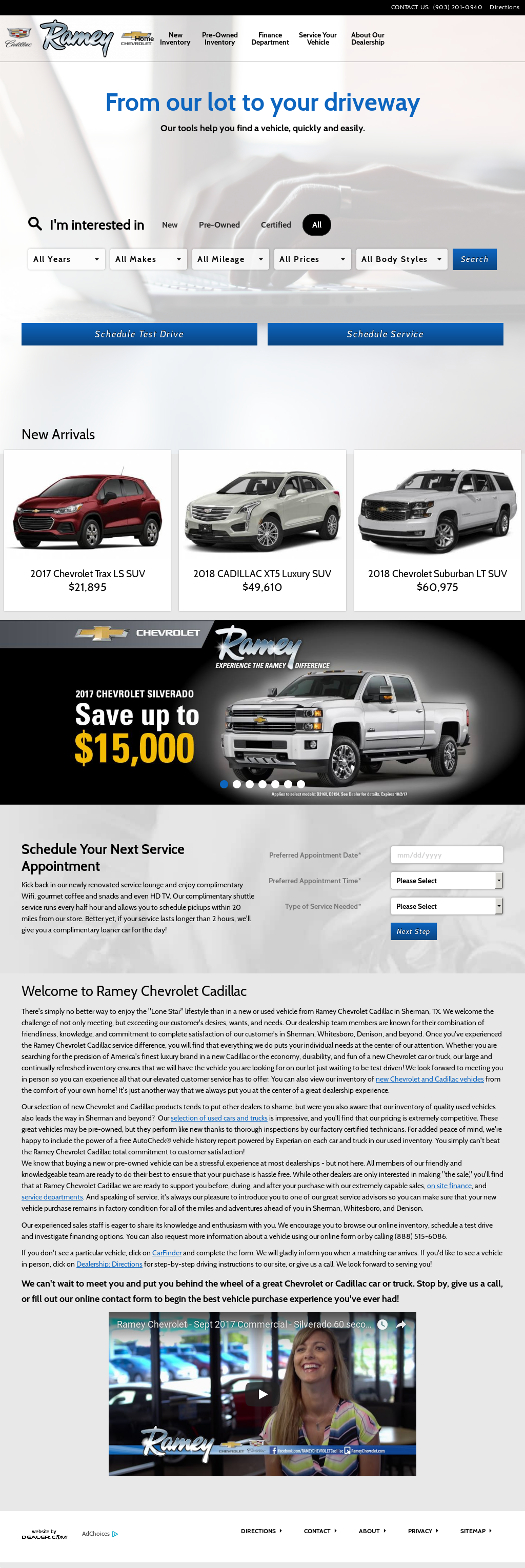 Ramey Chevrolet Cadillacu0027s Website Screenshot On Sep 2017