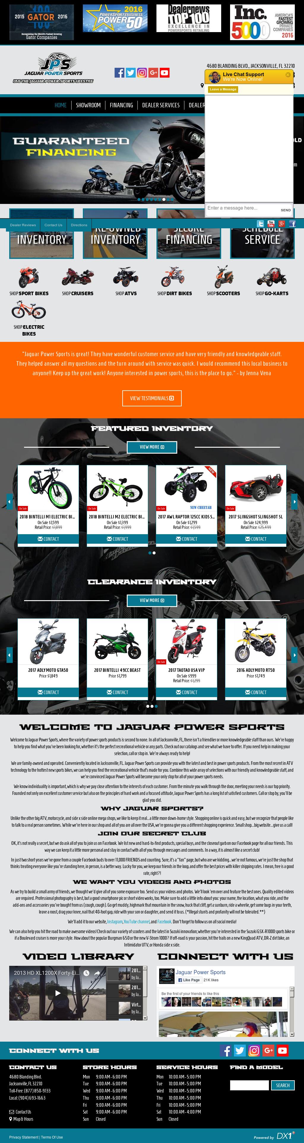 Jaguar Power Sports Website History