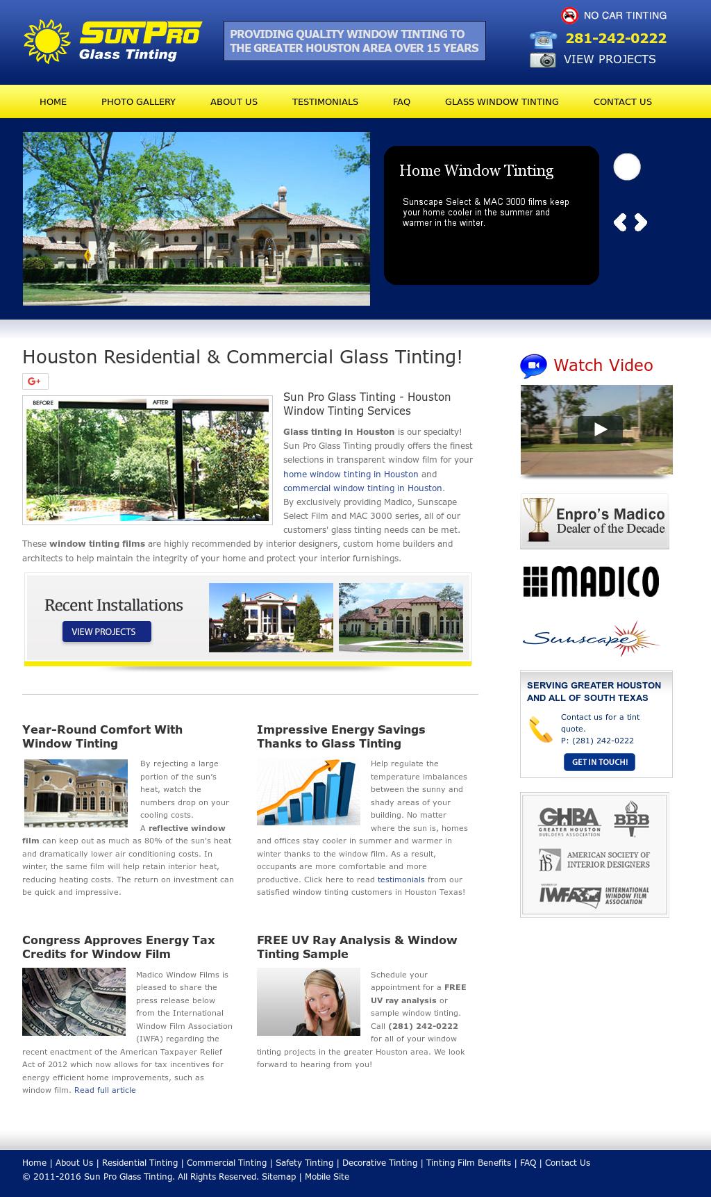 Sun Pro Gl Tinting Houston Window Tint Website History