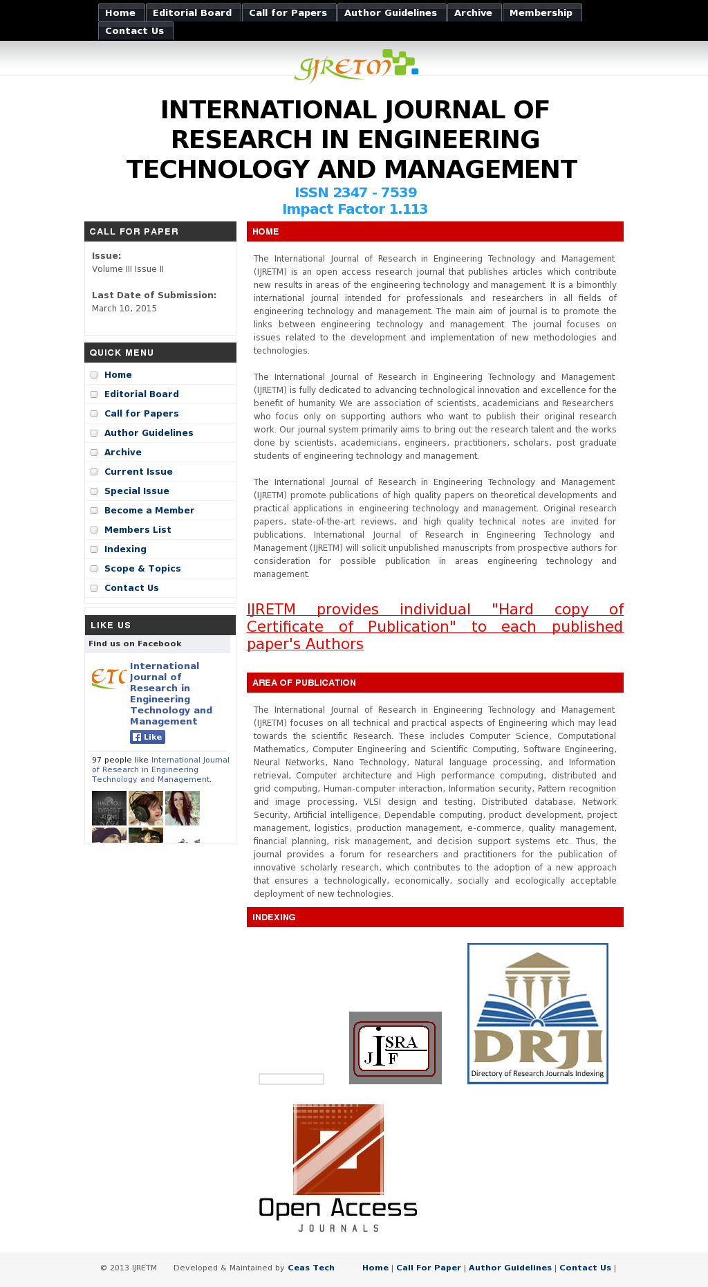 International Journal Of Research In Engineering Technology