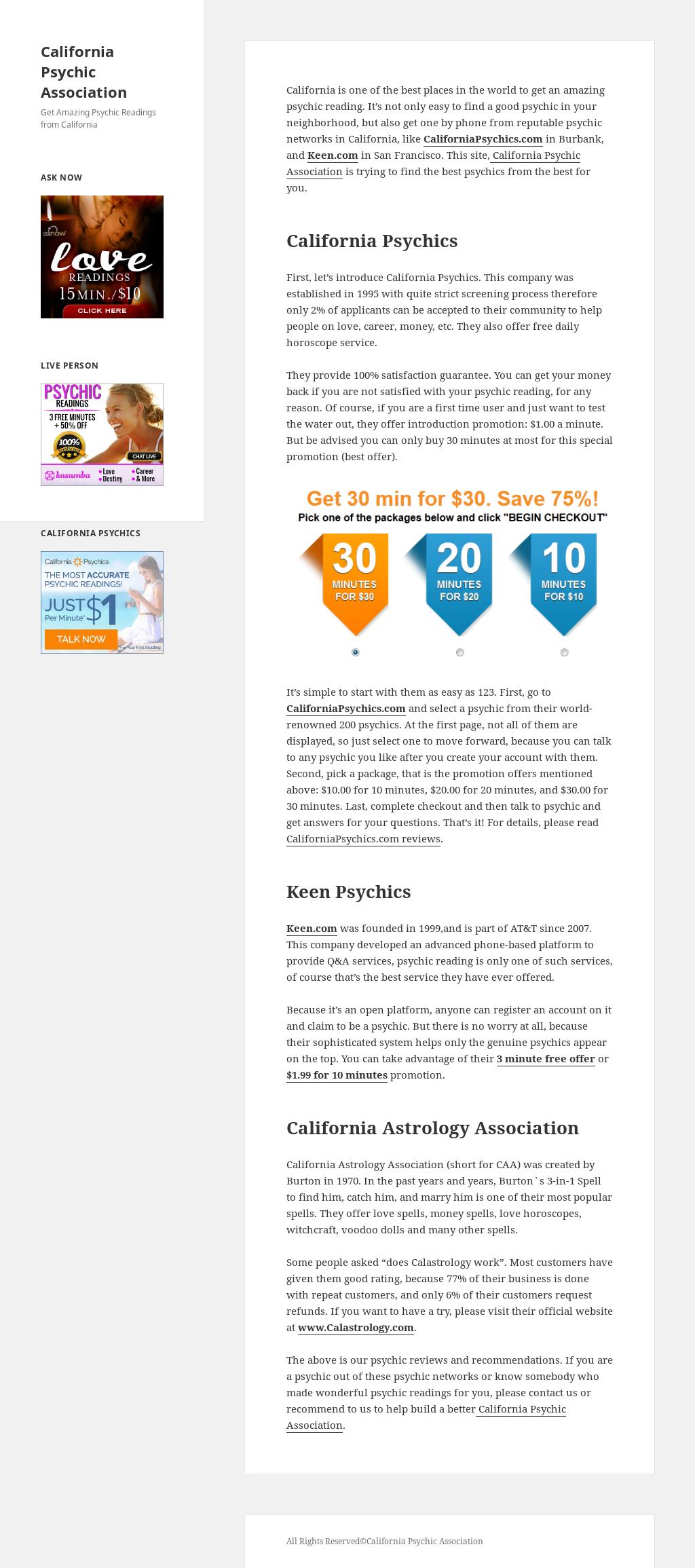 California Psychic Association Competitors, Revenue and
