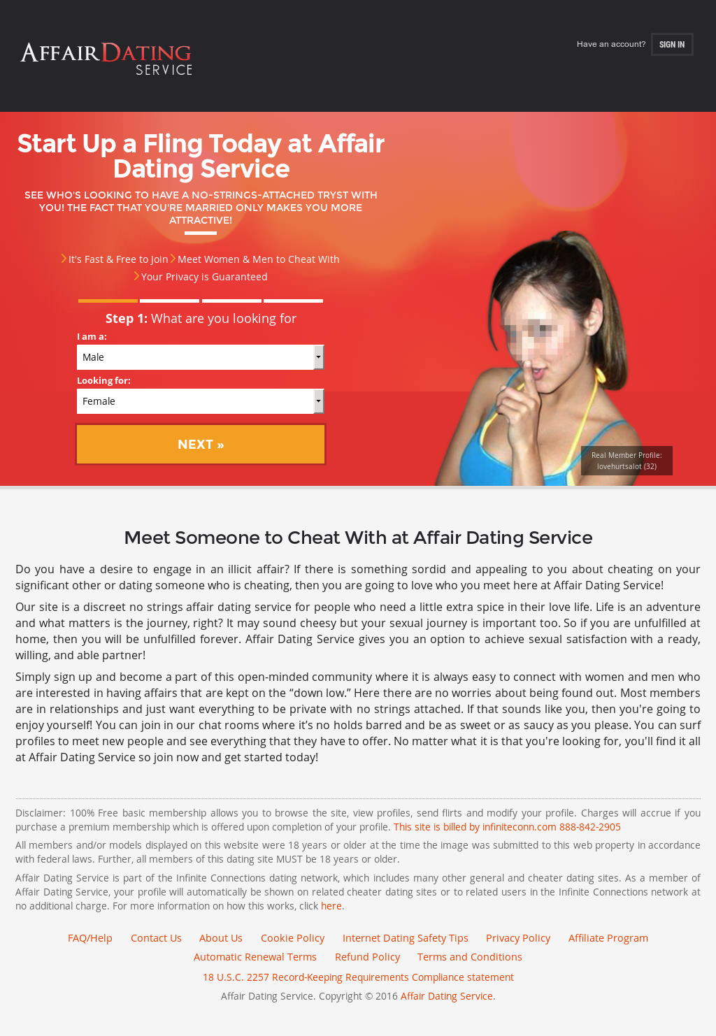 Dating affair sign in