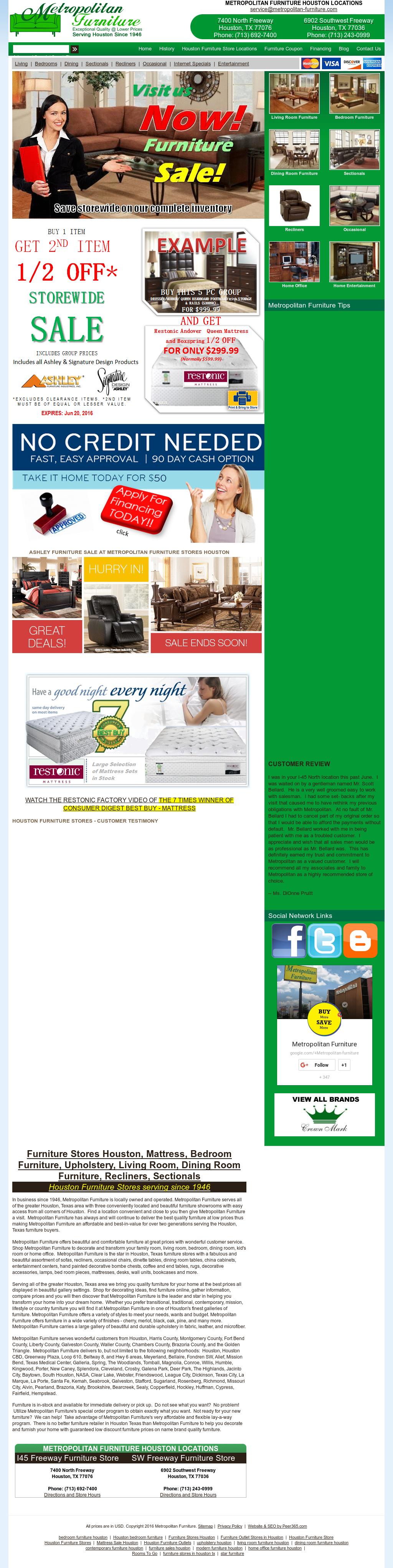 Bon Metropolitan Furniture Website History
