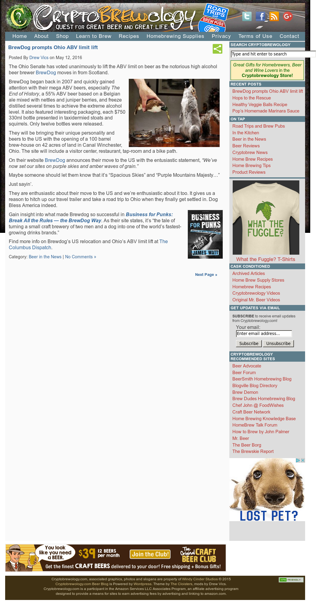Cryptobrewology com, Associated Graphics, Photos And Slogans Are