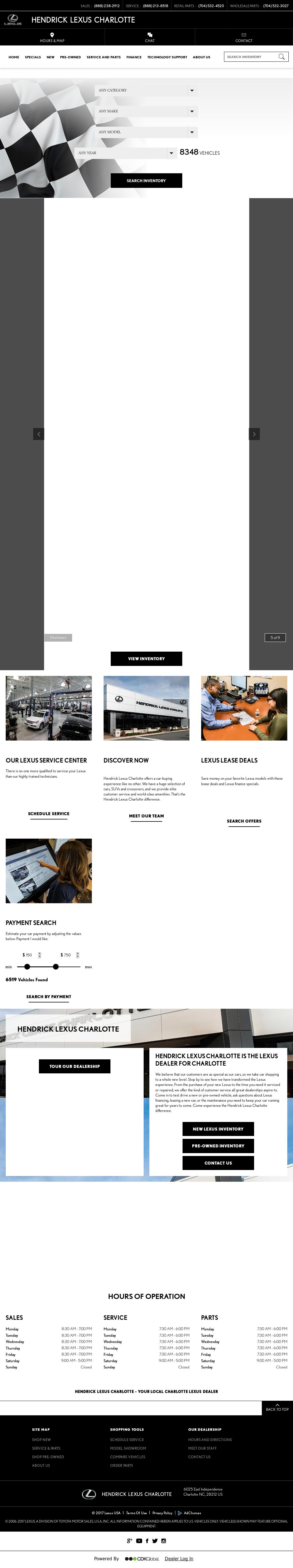 Hendrick Lexus Charlotte Website History
