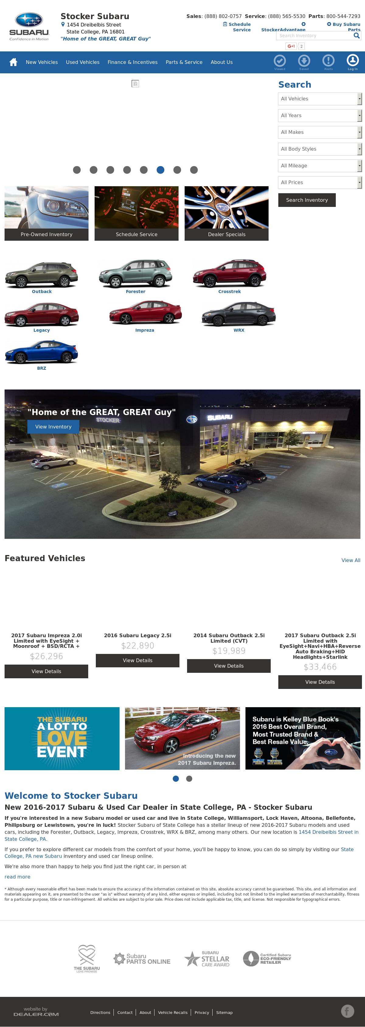 Stocker Chevrolet   Subaru Website History