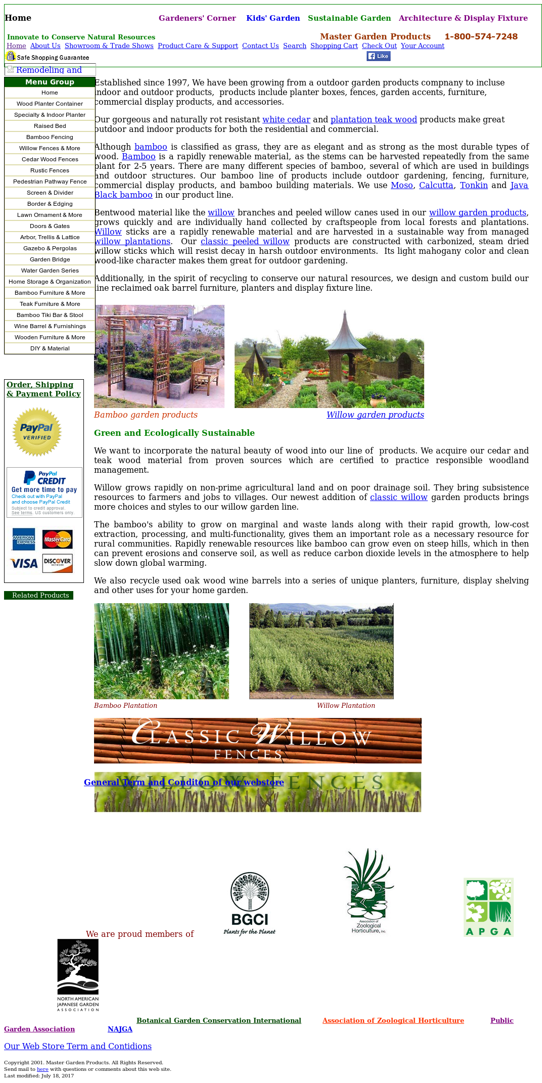 Master Garden Products Website History