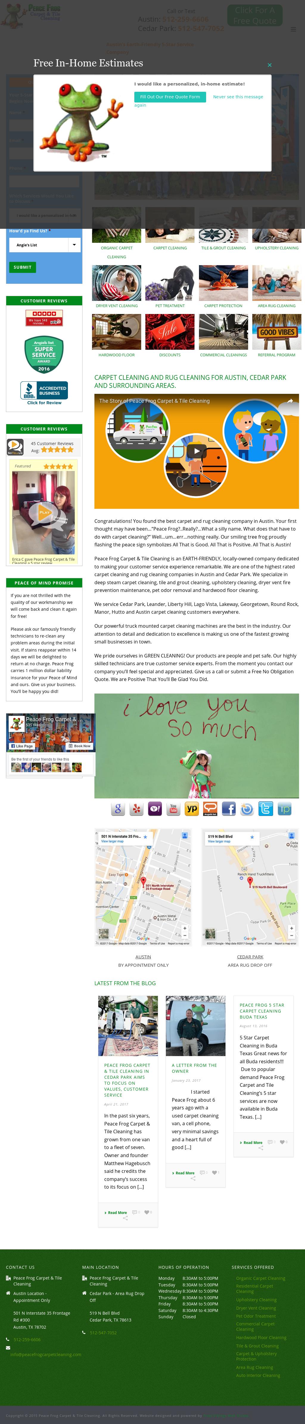 Peace Frog Carpet Tile Cleaning S Website Screenshot On