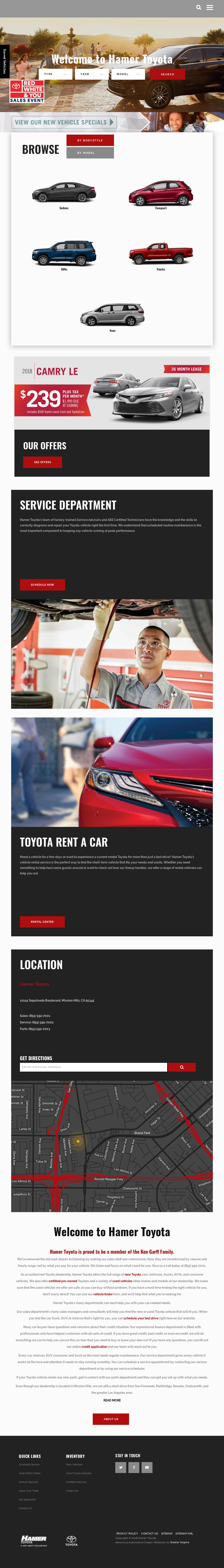 Hamer Toyota Website History
