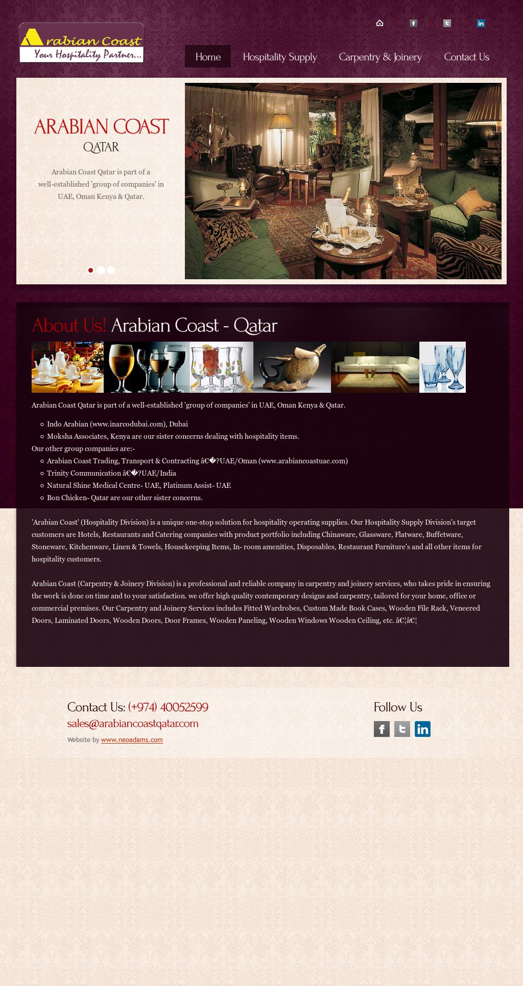 Arabian Coast Qatar - Hospitality Supply Competitors