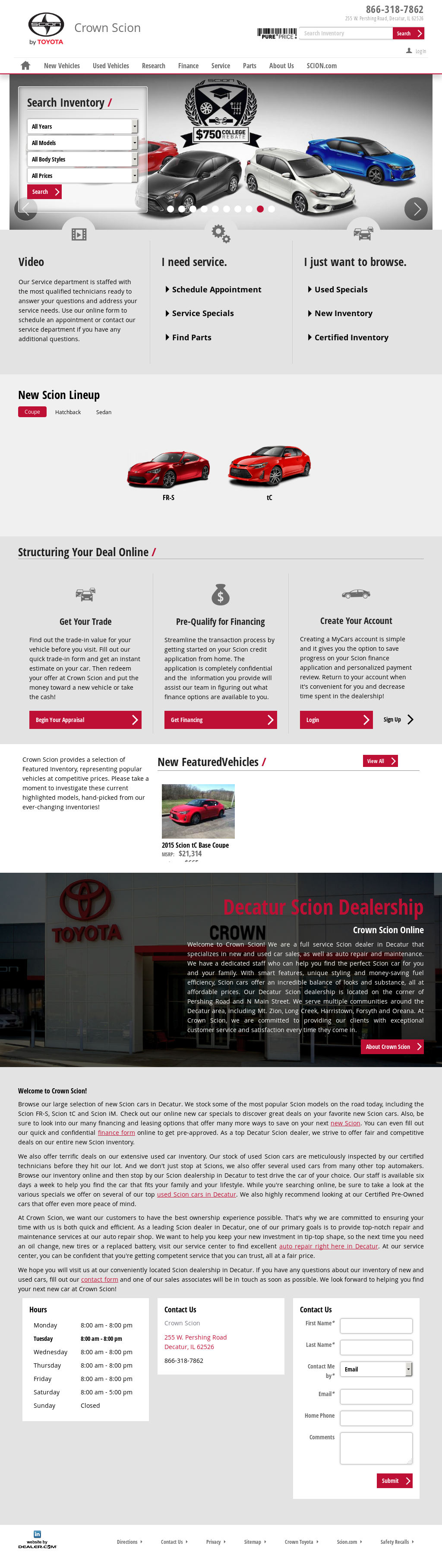 Crown Toyota Scion Website History