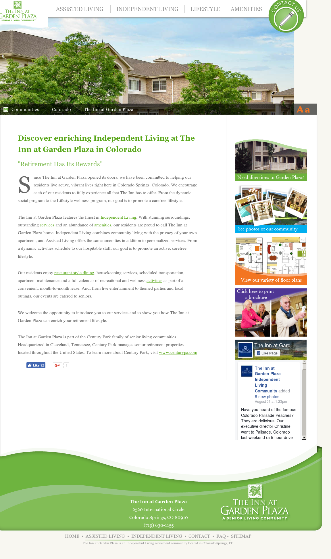 The Inn At Garden Plaza Independent Living Community Website History