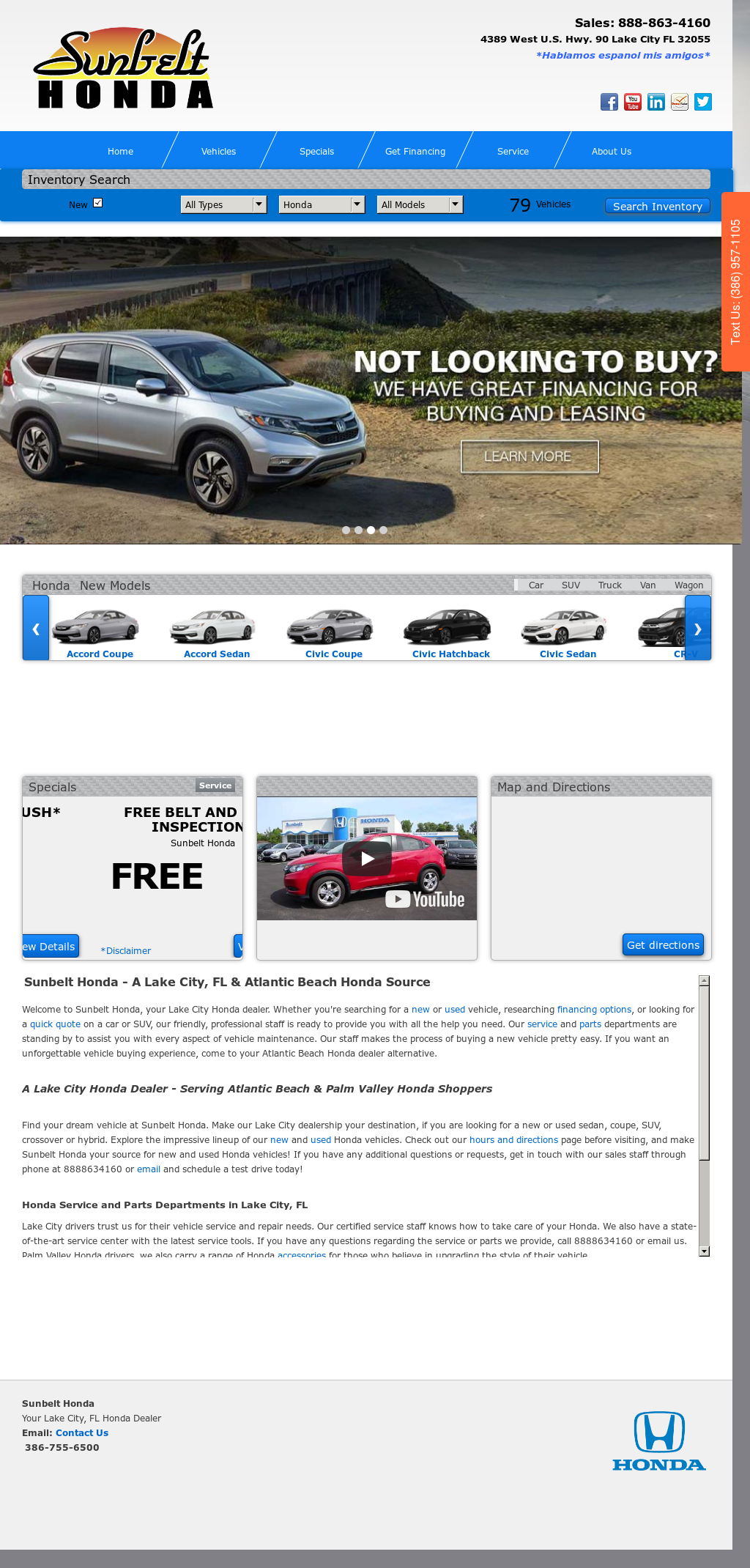 Sunbelt Hondau0027s Website Screenshot On Sep 2017