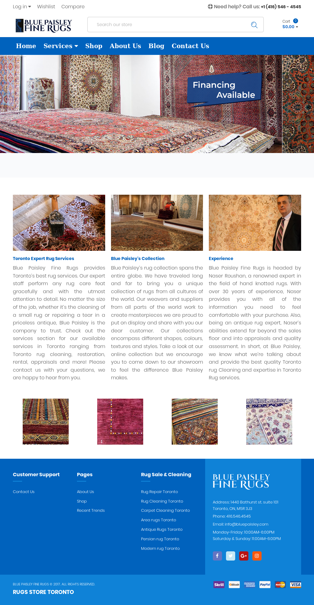 Blue Paisley Fine Rugs Website History
