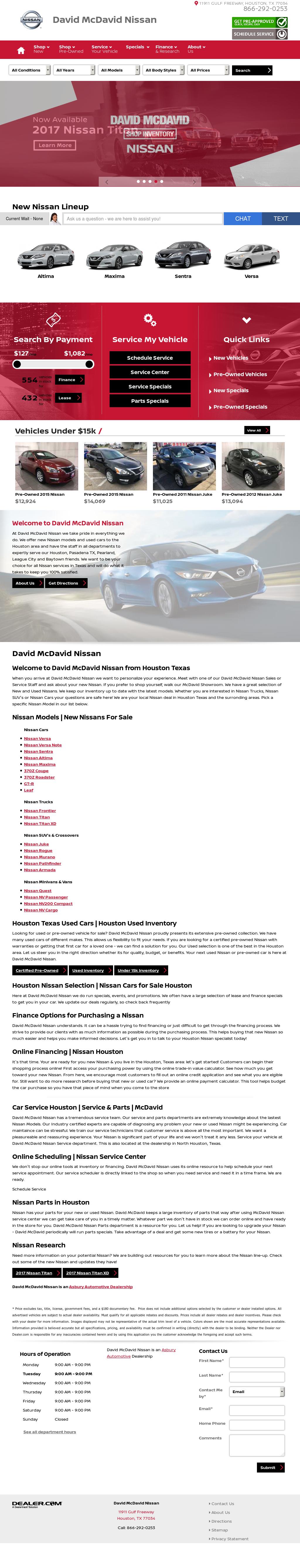 David McDavid Nissan Website History