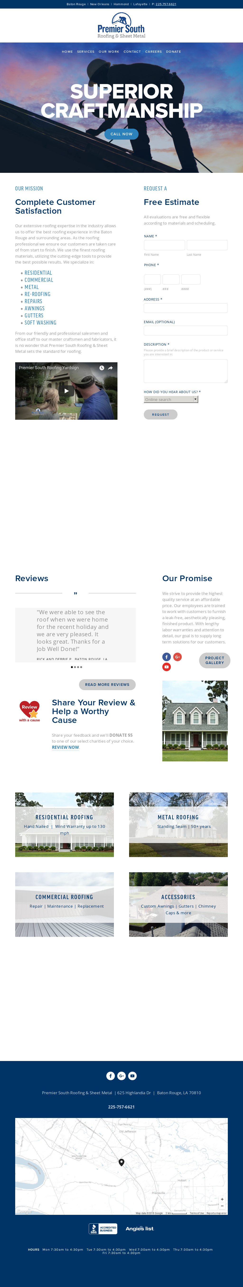 Premier South Roofing And Sheet Metal Baton Rouge New Orleans S Website Screenshot On Mar