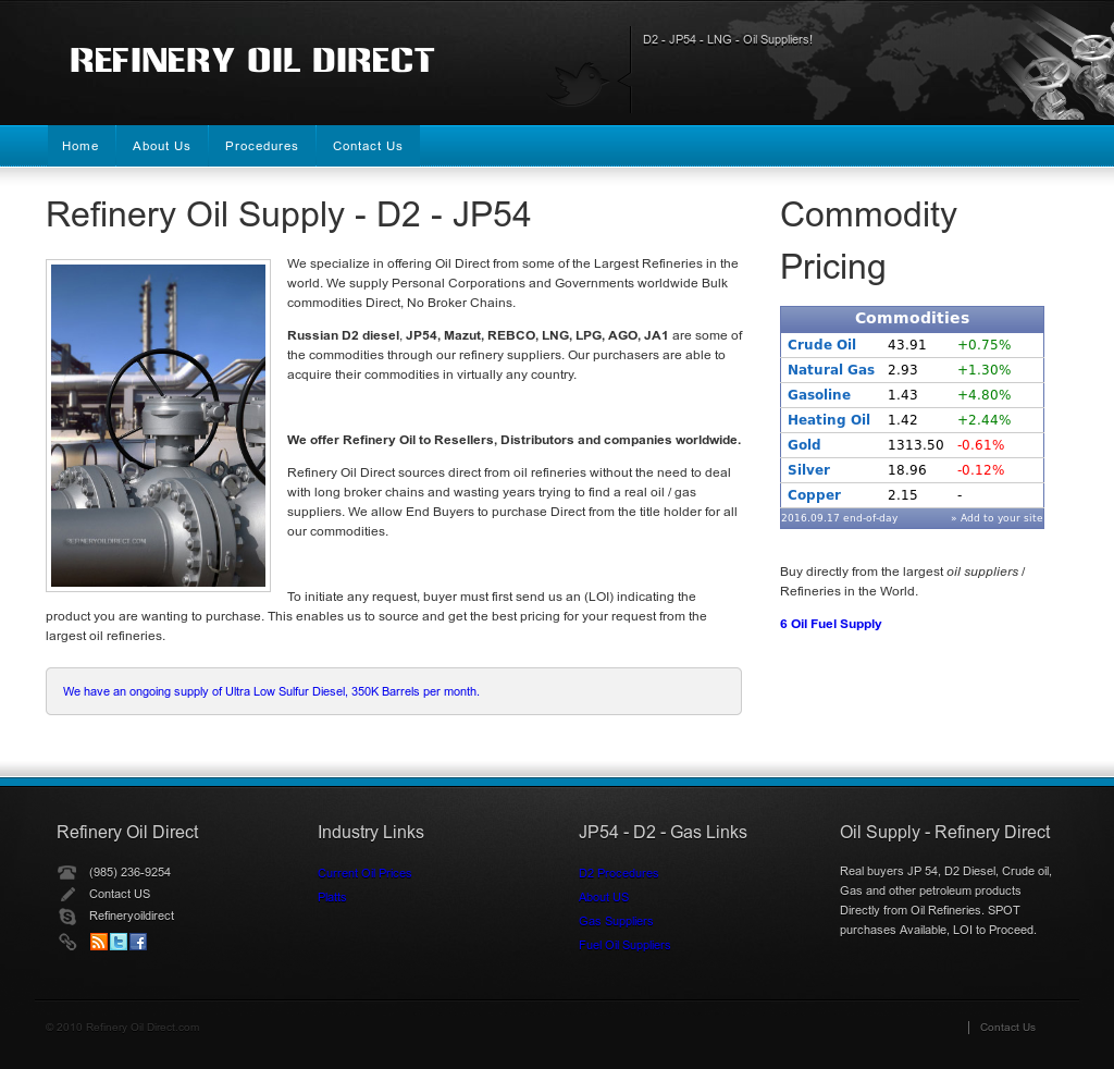 D2 - Jp54 Suppliers - Oil Refinery Competitors, Revenue and