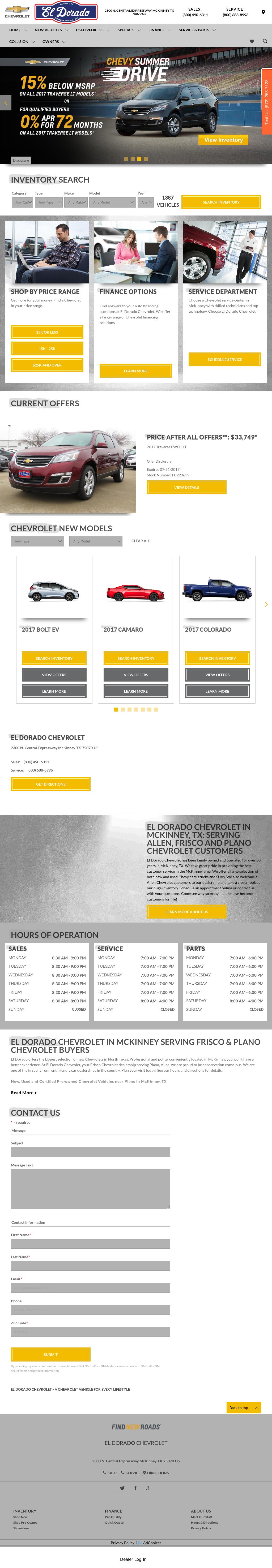 El Dorado Chevrolet Mckinney Texas Website History